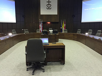 View of Boardroom from delegation chair