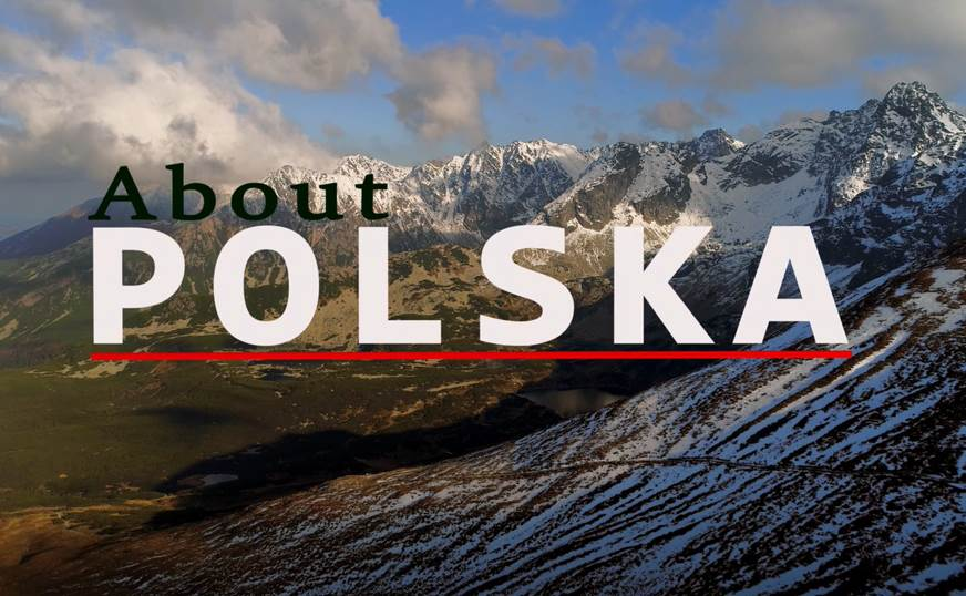 A poster with mountains in the background. Text on the poster reads: About Polska.