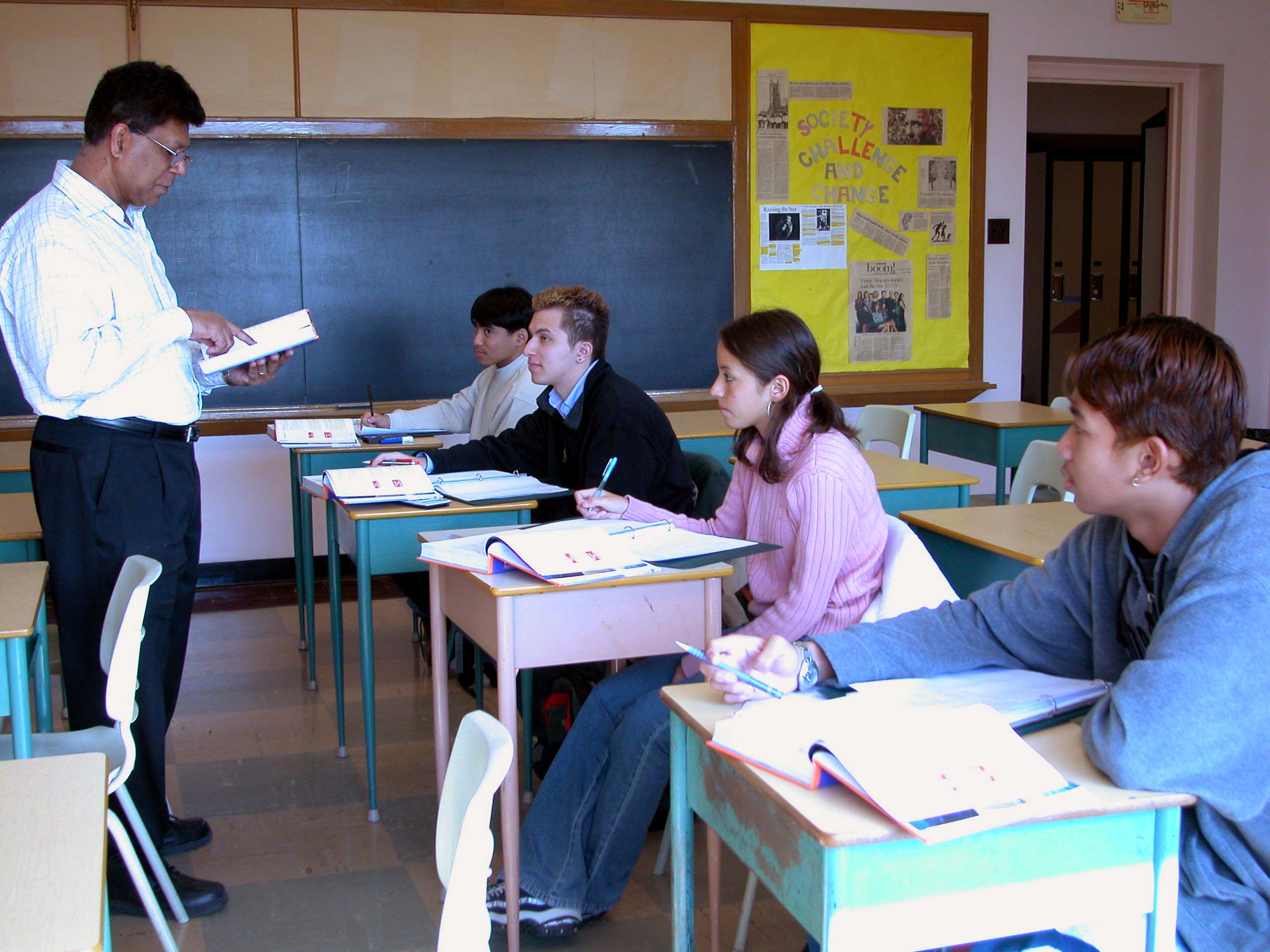 Councellor talking to newcomer students