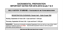 Sacramental Preparation Important Dates for...
