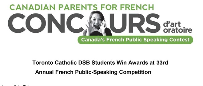 TCDSB Students Win French Public Speaking Contest
