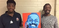 Student Artist Presents Portrait to Carr Staff