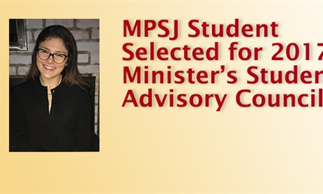 MPSJ Student Selected for 2017-18 Minister's Student Advisory Council
