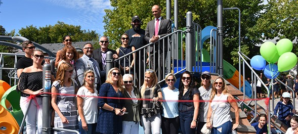 Blessed Sacrament Celebrates New Playground with Blessing and Ribbon Cutting