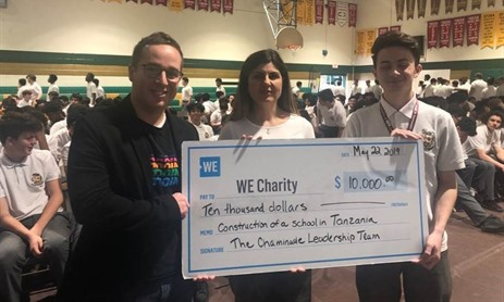 Chaminade donates $10,000 to WE Charity