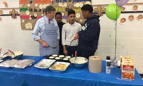 St. Francis Xavier Welcomes Mayor for Pancake Breakfast