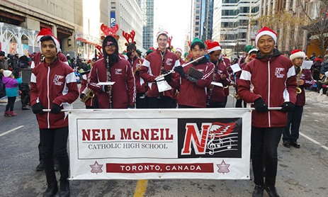 Neil McNeil Students March in Santa Claus Parade