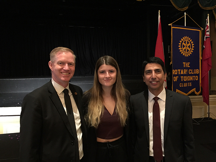 Karina Dubrovskaya, TCDSB Student Trustee with Deputy Minister of Education Bruce Rodrigues and TCDSB Associate Director Rory Mc