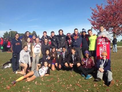 group photo of Senior and junior Boys and Senior Girl's Cross Country Teams.