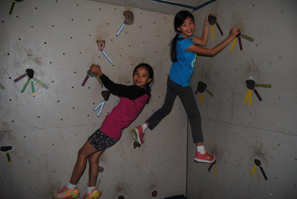 Two students on Climbing Wall