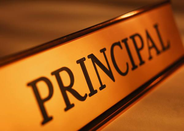 Name plate that reads PRINCIPAL