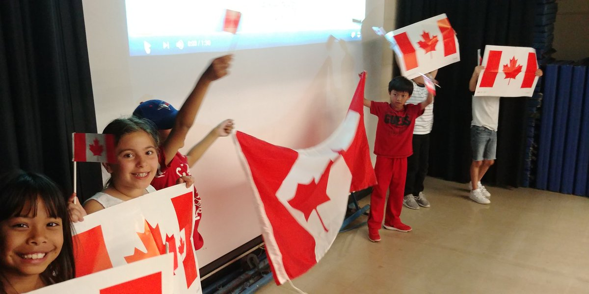 students with flags