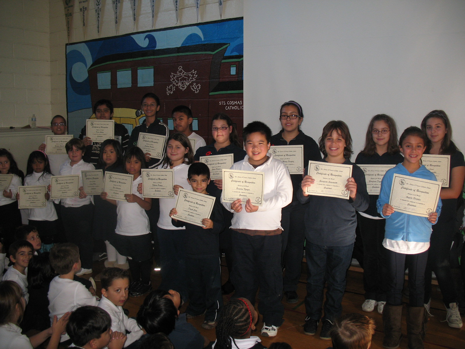 Students receiving Student of the Month Awards